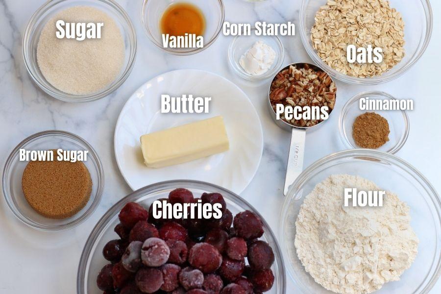 Ingredients used in Cherry Crisp (Cherry Crumble) recipe.