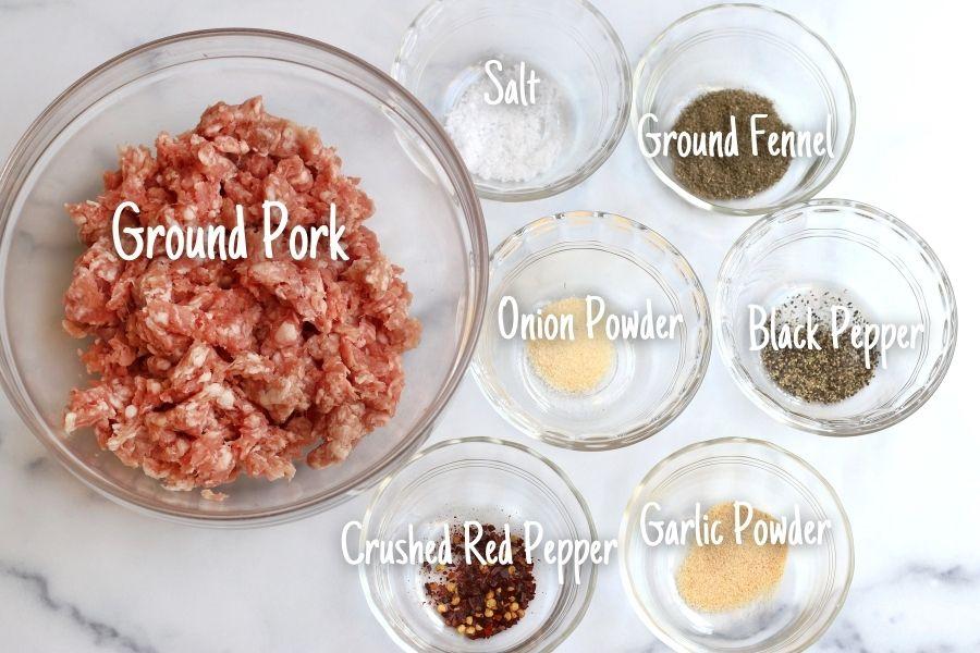 Ingredients for Homemade Italian Sausage (Ground Pork and Italian Sausage Seasonings)