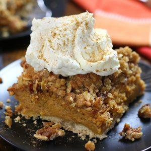 Up close photo of Pumpkin Crisp Recipe showing the three layers.