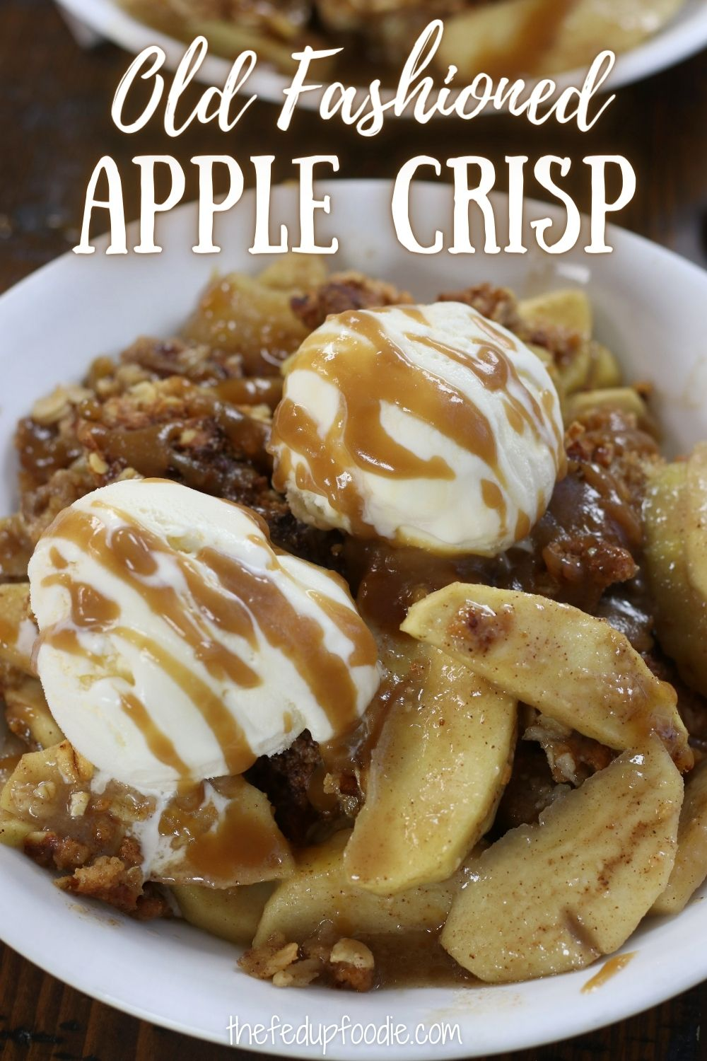 This Apple Crisp recipe has a homemade apple pie filling and the most addictive crumble topping made of oats, cinnamon and chopped pecans. Loaded with flavor and an extra crispy topping, this fall dessert does not disappoint. #AppleCrisp #AppleCrispRecipeWithOats #AppleCrispTopping #AppleCrispWithOatmeal #AppleCrispWithFreshApples #BestAppleCrispEver #HomemadeAppleCrisp #BakedAppleCrisp