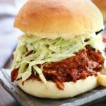BBQ Pulled Chicken Burger with a fluffy hamburger bun and coleslaw.