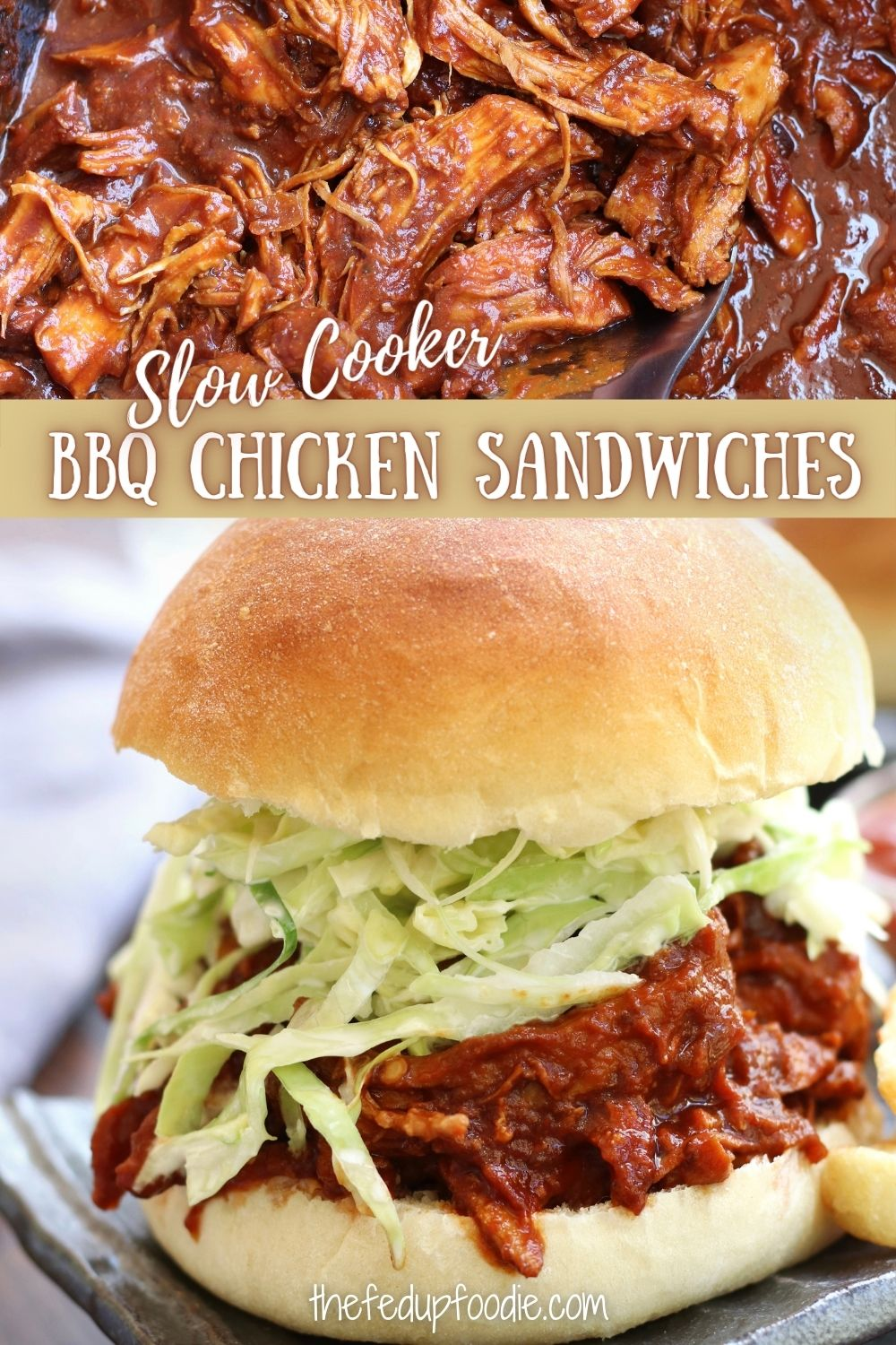 This BBQ Chicken Sandwich is an easy recipe made in the slow cooker with Homemade BBQ Sauce, a Simple Coleslaw and pulled chicken. An uncomplicated recipe that will make you feel like a chef on game day. #BBQChickenSandwich #BBQChickenSandwichCrockpot #BBQChickenSandwichRecipes #BBQChickenSandwichPulled #BBQChickenSandwichWithColeslaw #BBQChickenSandwichWithSlaw #ShreddedBBQChickenRecipes #SlowCookerBBQChicken