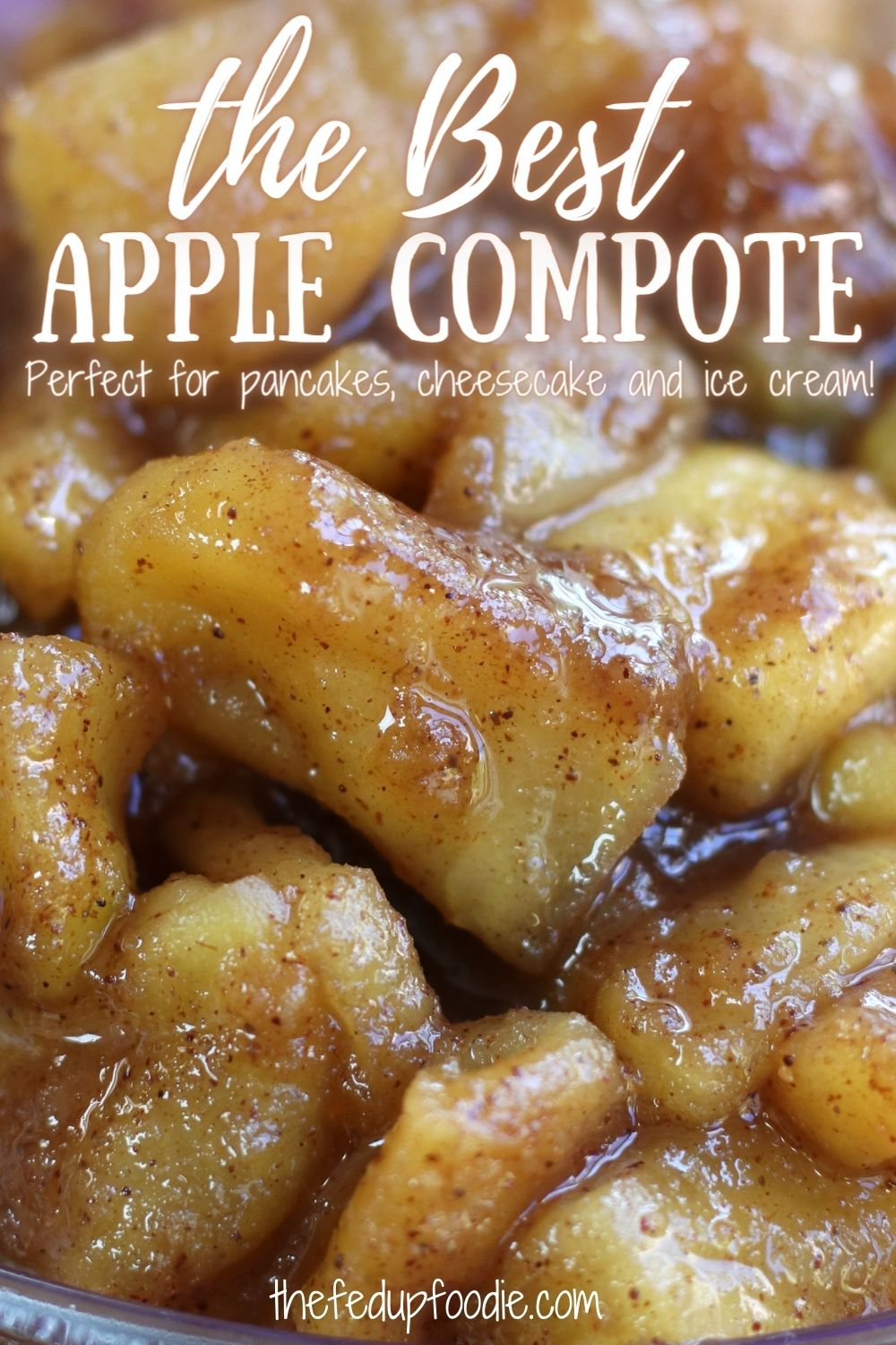 Apple Compote is a quick and easy fruit topping that tastes incredibly gourmet. Seasoned with aromatic cinnamon, nutmeg and ginger, this compote is the perfect finishing tough on pancakes, gingerbread and ice cream. #AppleCompoteRecipe #AppleCompote #AppleCompoteRecipeSimple #AppleCompoteRecipeHealthy #AppleCompoteRecipeBreakfast #AppleCompoteForPancakes