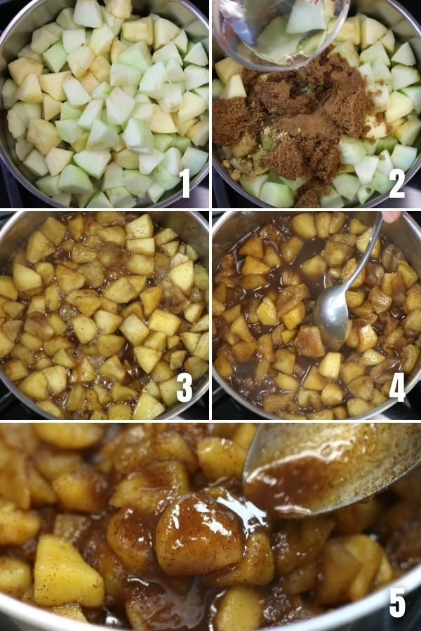 Steps showing how to make Apple Compote.